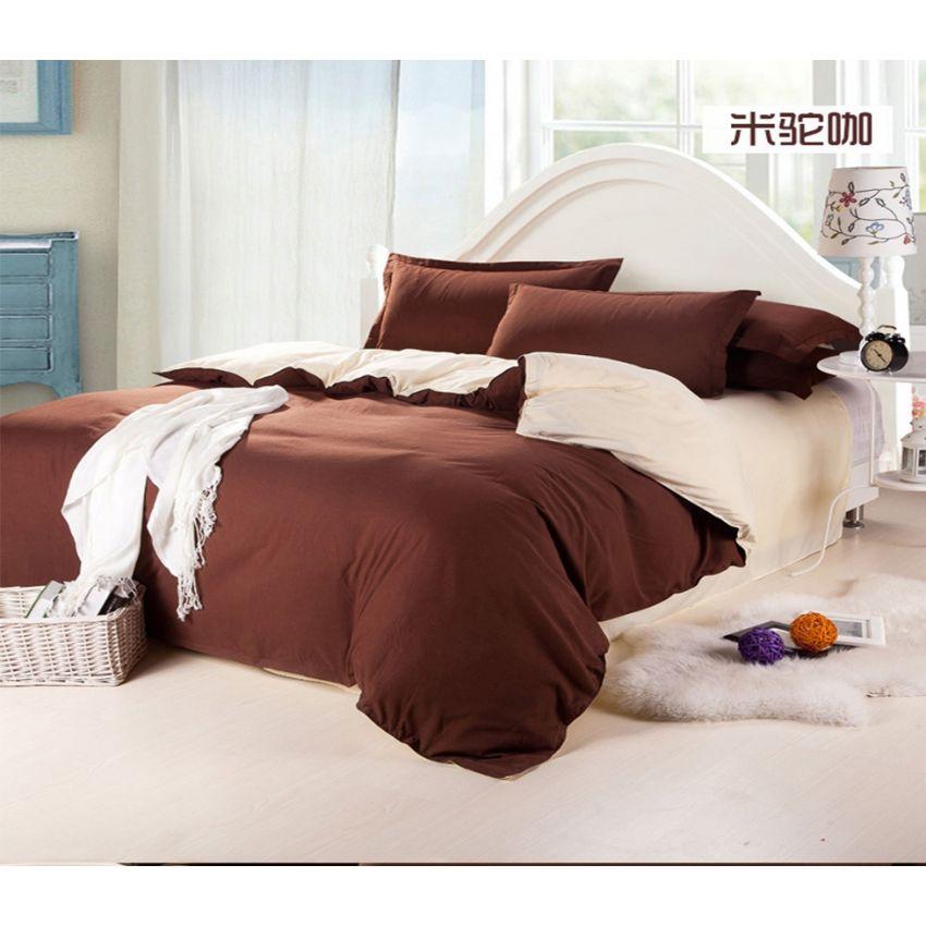 ชุดผ้าปูที่นอน 5 ฟุตครบเซ็ต 4 ชิ้น รวมปลอกผ้านวม ลายสีพื้น 2 ด้าน - สีน้ำตาล