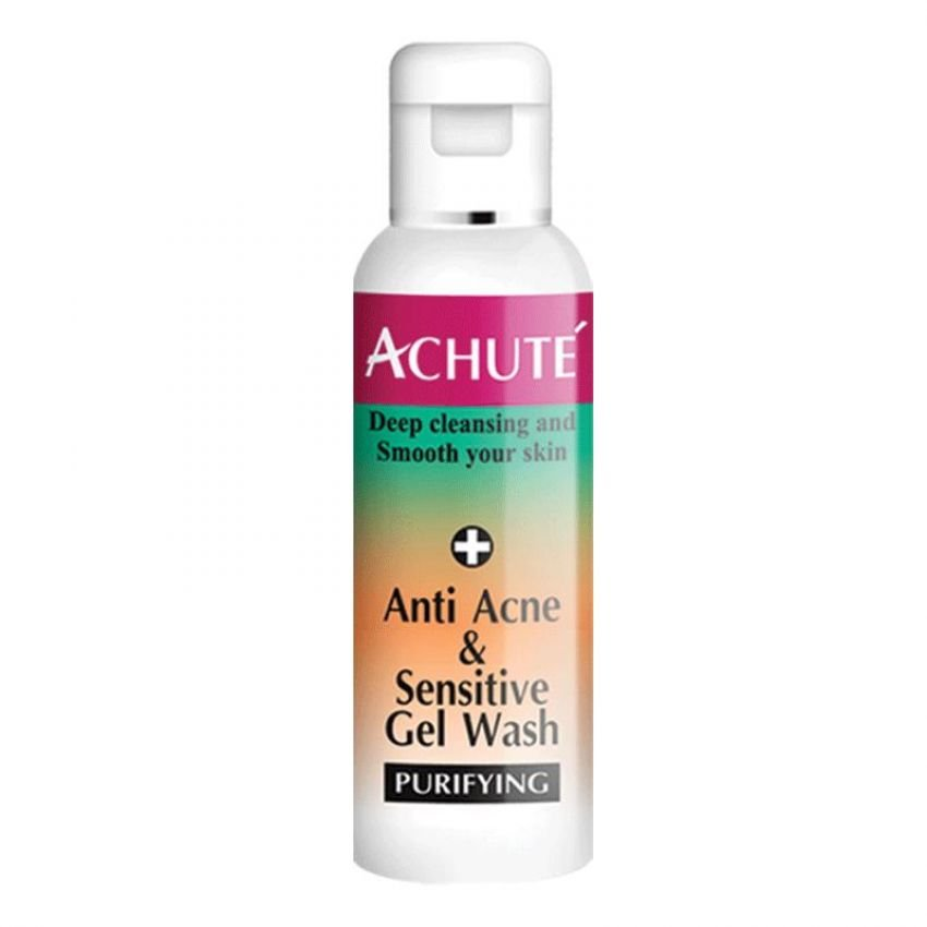 Achute' AntiAcne and SensitiveGel Wash(เจลล้างหน้าสูตรสำหรับผิวแพ้ง่าย และ สิว )ช่วยปรับสมดุลผิว ลดความมัน