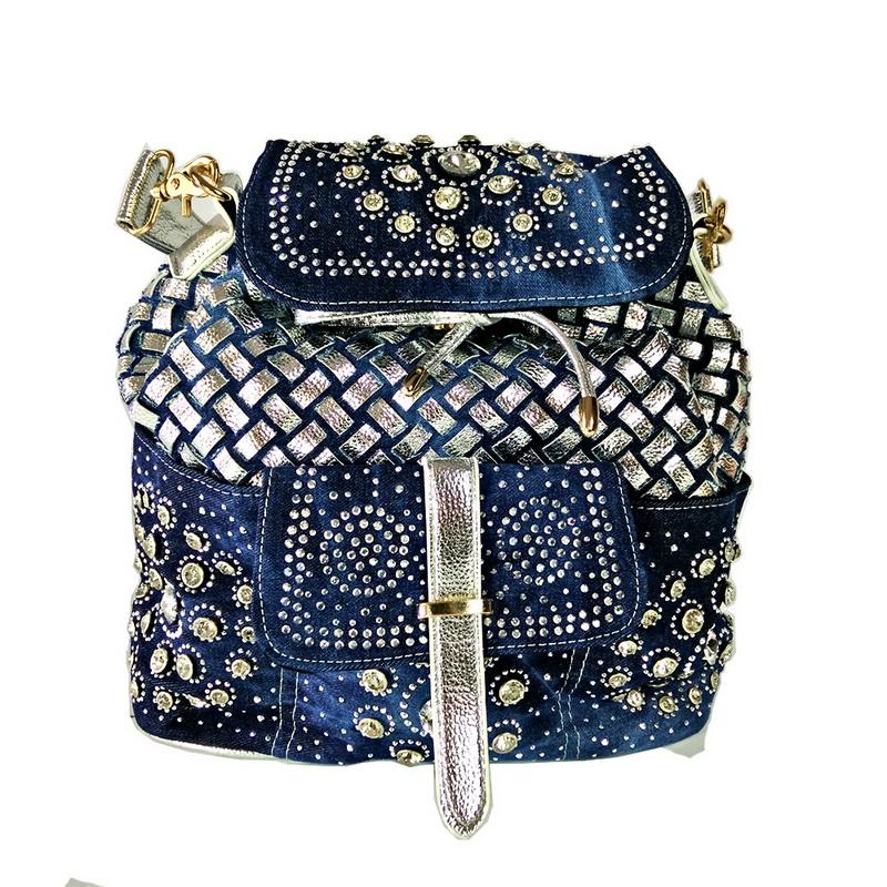 กระเป๋าเป้  ยีนส์สุดหรู ประดับเพชร  งานออกแบบเก๋มาก เนี้ยบมากๆๆระดับไฮเอน รุ่น dimond