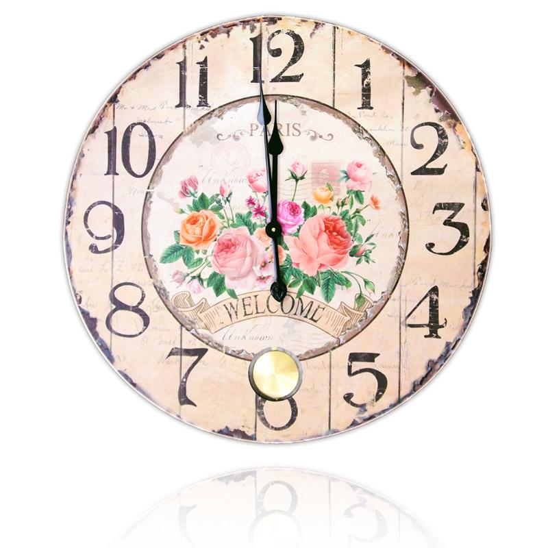 นาฬิกาแขวนติดผนังสไตล์วินเทจ ลายกุหลาบ